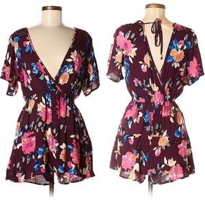 Xhilaration Burgundy Floral Open Back Romper